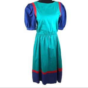 Rad vintage 80's color blocked poof sleeve dress